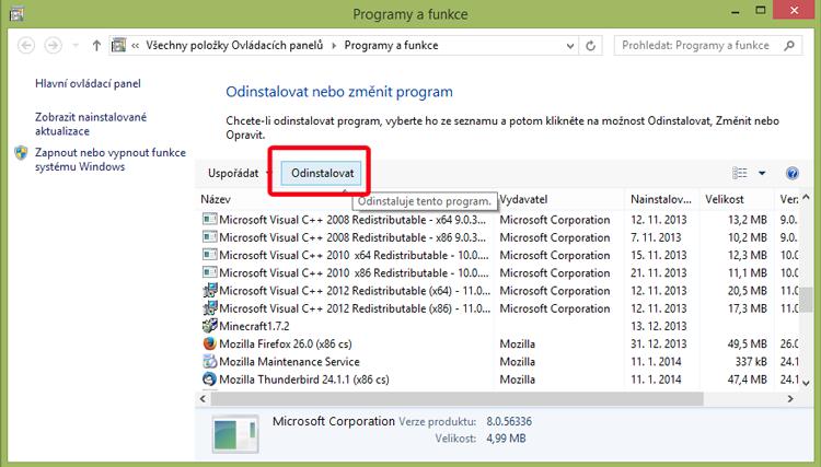 Panel Programy a funkce ve Windows 8.1