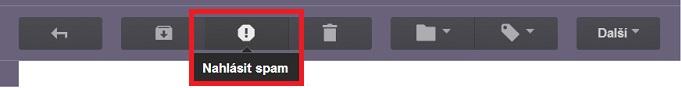 Tlačítko nahlásit spam v Gmailu